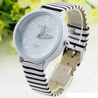 Angelfish Stripes Strap Round Case Casual Wrist Watch-AELKCP074