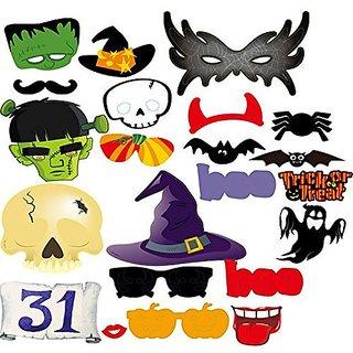 Halloween Photo Booth Props, Danibos 22pcs Halloween Props Kit Halloween Masks HAPPY HALLOWEEN Party Supplies. (22PCS)