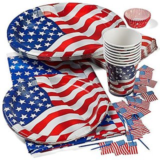 Patriotic 4th of July Party Set Deluxe- Patriotic Cups, Patriotic 9