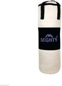 Woody Boxing Punching Bag Made Of Strong White Canvas Unfilled With Straps