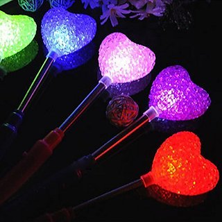 Party Lovers Novelty LED Multi Color Flashing Light Up Heart Stick Toy (8 Pieces)