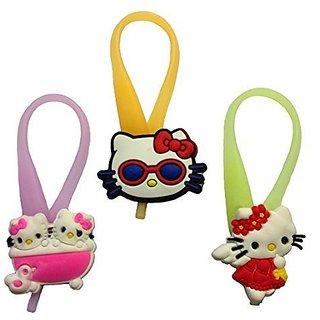 Hello Kitty Luminescent Colorful Silicone Snap Lock Zipper Pulls Mini Set 3 Pcs
