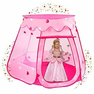 Stars & Hearts Princess Castle Play Tents for Girls w Removable Roof - Pop Up Children Play Tent for Indoor & Outdoor Us