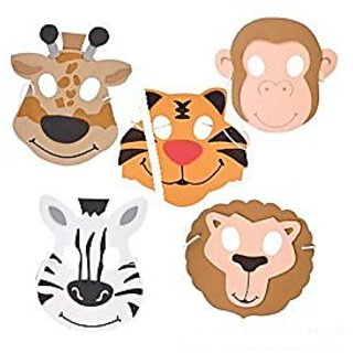 (24) Assorted Zoo Animals Foam Masks ~ Fun 7.5 Zoo Animals Party Favor Masks ~ Great Halloween Birthday School Fair Priz