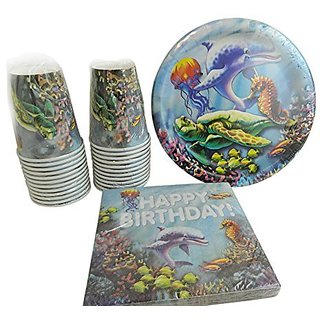 Happy Birthday Ocean Themed Bundle for 18 includes: Dinner Plates, luncheon Napkins, Cups