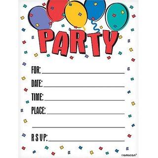 Balloon Party Invitations- 8ct