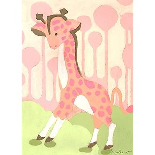 Oopsy Daisy Gigi Giraffe Pink by Sally Bennett Canvas Wall Art, 10 by 14-Inch