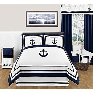 Sweet Jojo Designs Anchors Away Nautical Navy and White Boys 3 Piece Full Queen Bedding Set