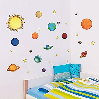 Colorful Planets in The Space Solar System with Star Wall Stickers Removable Wall Decal for Girls and Boys Nursery Baby