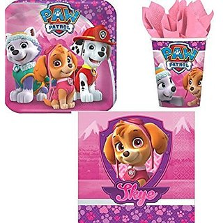 Paw Patrol Pink Girls Children Birthday Party Supplies Set Plates Napkins Cups Kit for 16