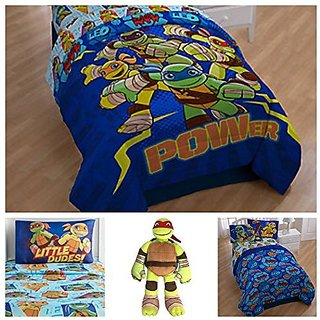 Teenage Mutant Ninja Turtles Comforter Set with Sheets and Pillow Buddy - Full
