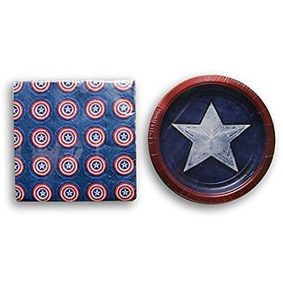 Captain America Shield Party Supply Kit - Dessert Plates and Dinner Napkins