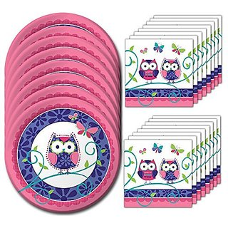 Owl Pal Lunch Napkins & Plates Party Kit for 8