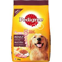 Pedigree (Adult - Dog Food) Meat  Rice, 1.2 Kg Pack (Treats)