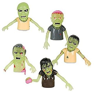 Set of 5 Glow in the Dark Finger Puppet Zombies