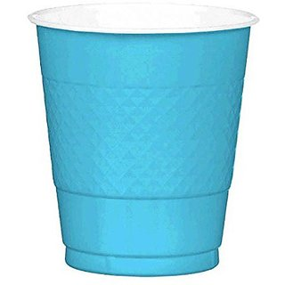 Amscan Reusable Party Cups (20 Piece), Caribbean Blue, 3.5 x 3.5