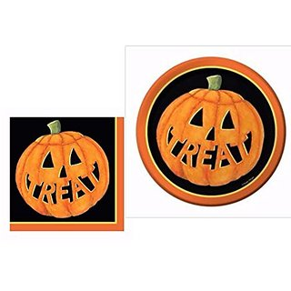 Pumpkin Smiles Halloween Dessert Plates and Napkins Party Pack for 16