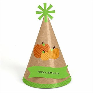 Pumpkin Patch - Fall & Halloween Themed Cone Happy Birthday Party Hats - Set of 8