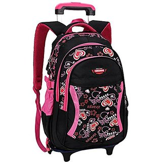 Coofit Rolling Backpack Cute School Backpack Kids Backpack With Wheels Black