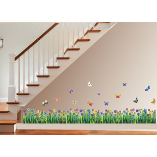 New Way Decals-Wall Sticker (7578) ''Colourful Flowers in The Garden''