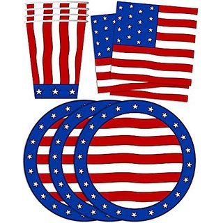 American Flag Patriotic Party Supplies Set Plates Napkins Cups Tableware Kit for 16
