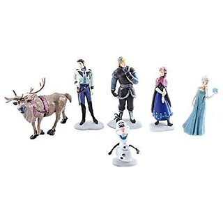 Frozen Cake Decoration Toppers Figures Toy Playset Doll Complete Set _ Anna Elsa Kristoff Olaf Hans Sven