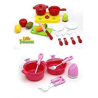 Mini Stovetop Pretend Play Cooking Toys - 2 sets Combined for Fun Playtime