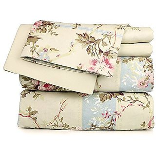 Dor Extreme Beige Floral Sheet Set, Twin