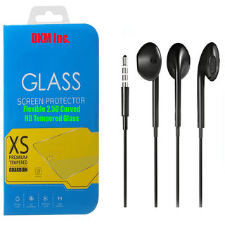 DKM Inc 25D HD Curved Edge Flexible Tempered Glass and Hybrid Noise Cancellation Earphones for Lenovo Vibe K5 Plus