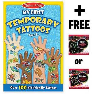 Blue: My First Temporary Tattoos - 100+ Kid-Friendly Tattoos + FREE Melissa & Doug Scratch Art Mini-Pad Bundle
