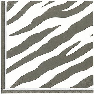 Amscan Disposable 2-Ply Lunch Napkins in Zebra Print (16 Pack), 6.5 x 6.5
