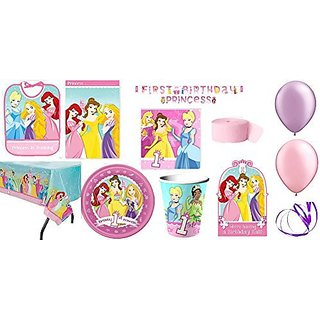 Birthday Party Supplies For 8 Guests Table Cover, Cups, Napkins, Plates, Treat Bags, Invitations, Stickers, Banners, Bib