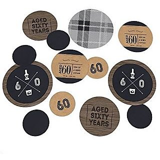 60th Milestone Birthday - Dashingly Aged to Perfection - Party Table Confetti Set - 27 Count