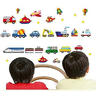 BIBITIME Train Car Truck Helicopter Bus Bulldozer Removable Wall Sticker Boy Kids Decal