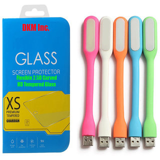 DKM Inc 25D HD Curved Edge HD Flexible Tempered Glass and Flexible USB LED Lamp for Redmi 3S Plus