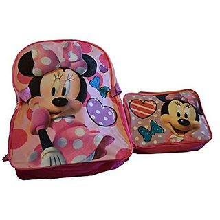 Disney Minnie Mouse 15 Backpack and Lunch Box Combo Kit (Minnie With Pink Bow)