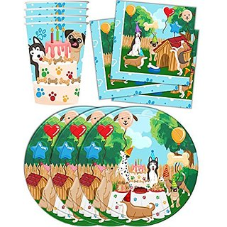 Puppy Dog Party Pups Birthday Party Supplies Set Plates Napkins Cups Kit for 16