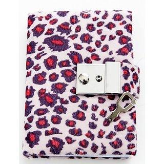 Animal Print Diary - Teen Locking Journal Lock & Key (PINK W RED SPOTS)