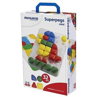 Miniland Super Pegs in Suitcase, 32-Pieces