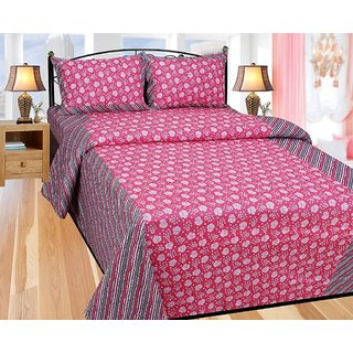 BajajDecor  Floral Cotton Double Bedsheet With 2 Pillow Cover