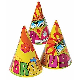 Dozen Hippie Retro Theme Paper Birthday Party Hats With Chin Straps
