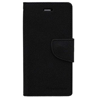 Vinnx Soft Shell Fancy Diary Case - Black  For Micromax Canvas Play Q355