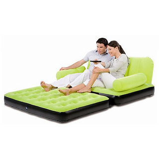 Everything Imported Velvet Inflatable Air Portable Sofa Cum Bed Green