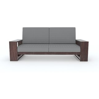 Tezerac -Melburn Wooden Three Seater Sofa - Grey