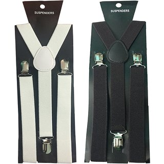 Y- Back Suspenders for Men(White Dark Brown Color)