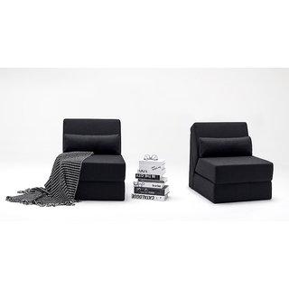 Fabhomedecor Easy Flip Flop Single Sofa Bed In Black Color