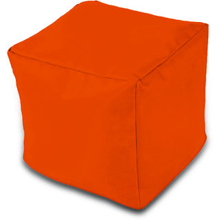 Dolphin Footstool Puffy Bean Bag-Orange-With Bean/Filled