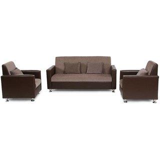 FNU Five Seater Sofa Set 3-1-1 (Natural Finish Brown)