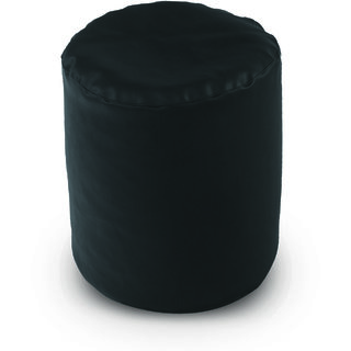 Dolphin Footstool Puffy Bean Bag-Black (Round)-With Bean/Filled