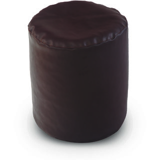 Dolphin Footstool Puffy Bean Bag-Brown (Round)-With Bean/Filled